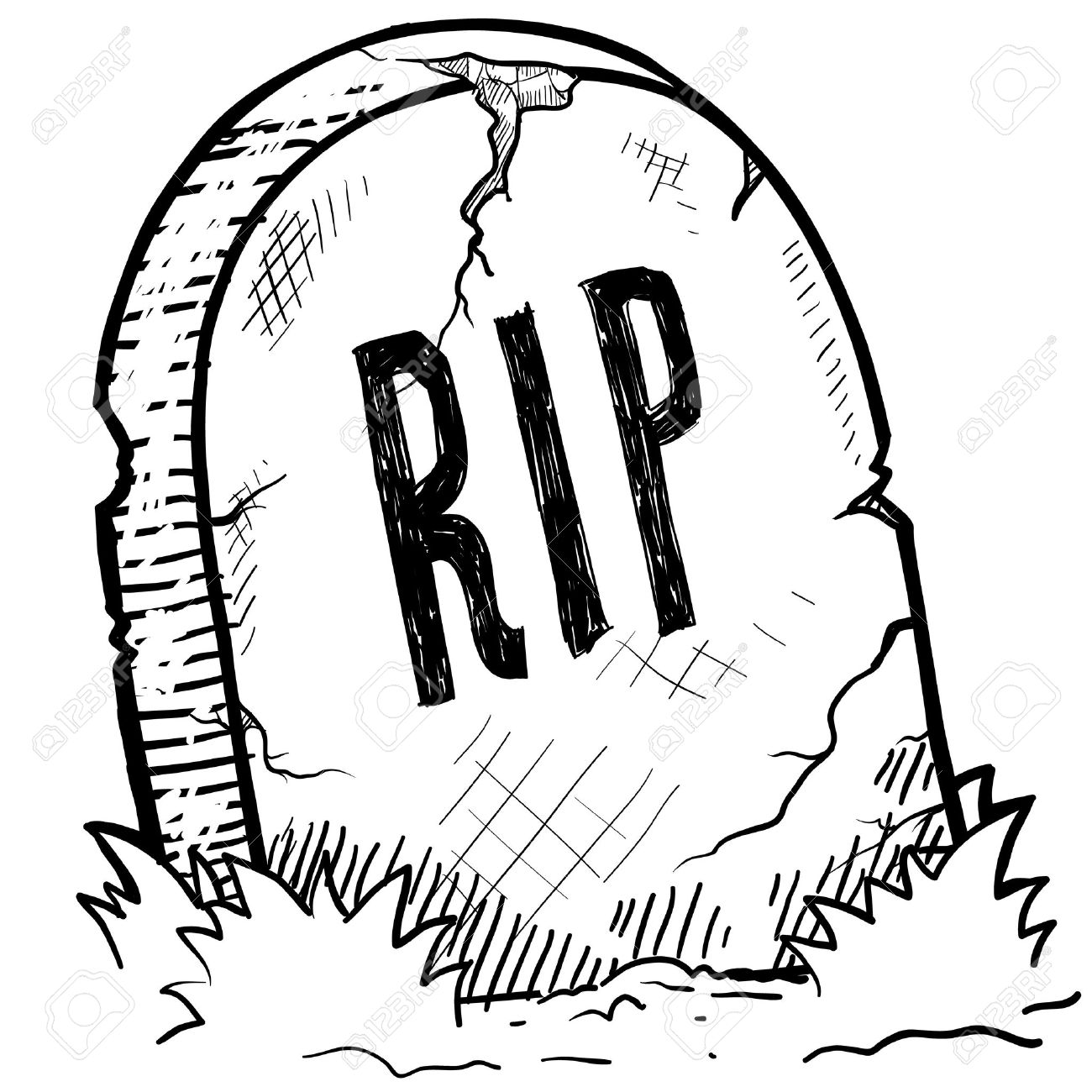 1300x1300 Doodle Style Tombstone With Rip Engraving Sketch In Vector Format