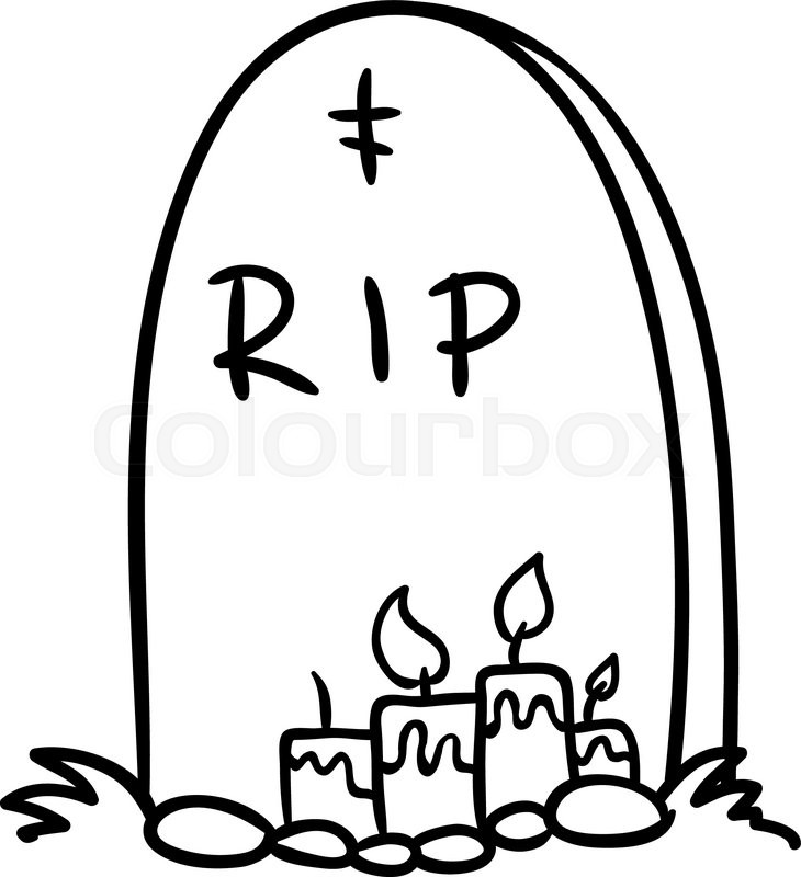 730x800 Halloween Grave Doodle , Vector Illustration On A White Background