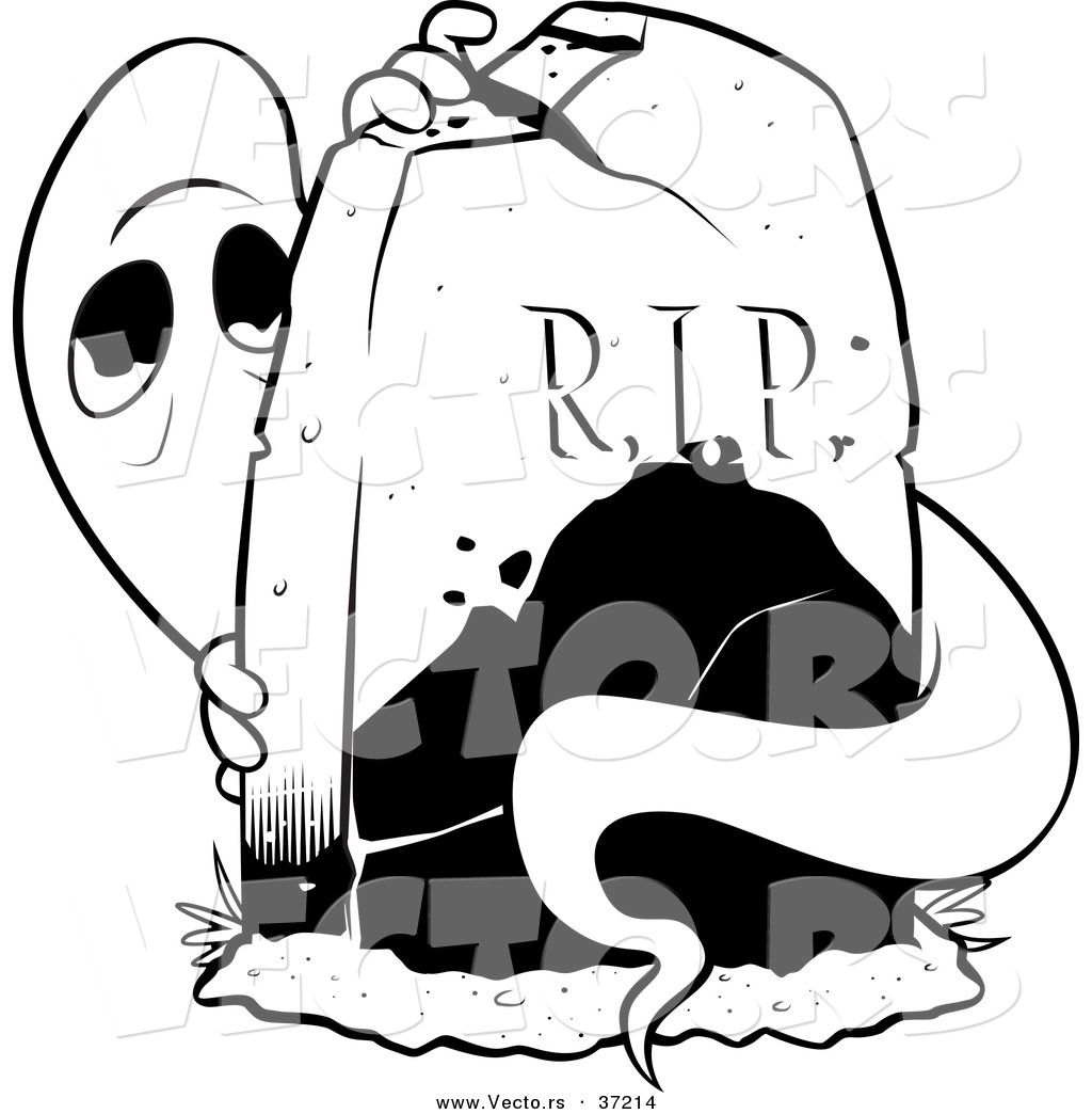 1024x1044 Vector Of A Scared Ghost Hiding Behind A Tombstone