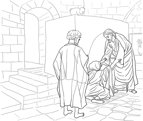 480x406 Jesus Healing Peter's Mother In Law Coloring Page Free Printable