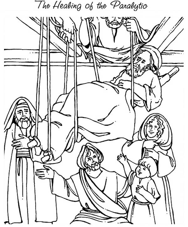 600x724 The Healing Of The Paralityc Is Miracles Of Jesus Coloring Page