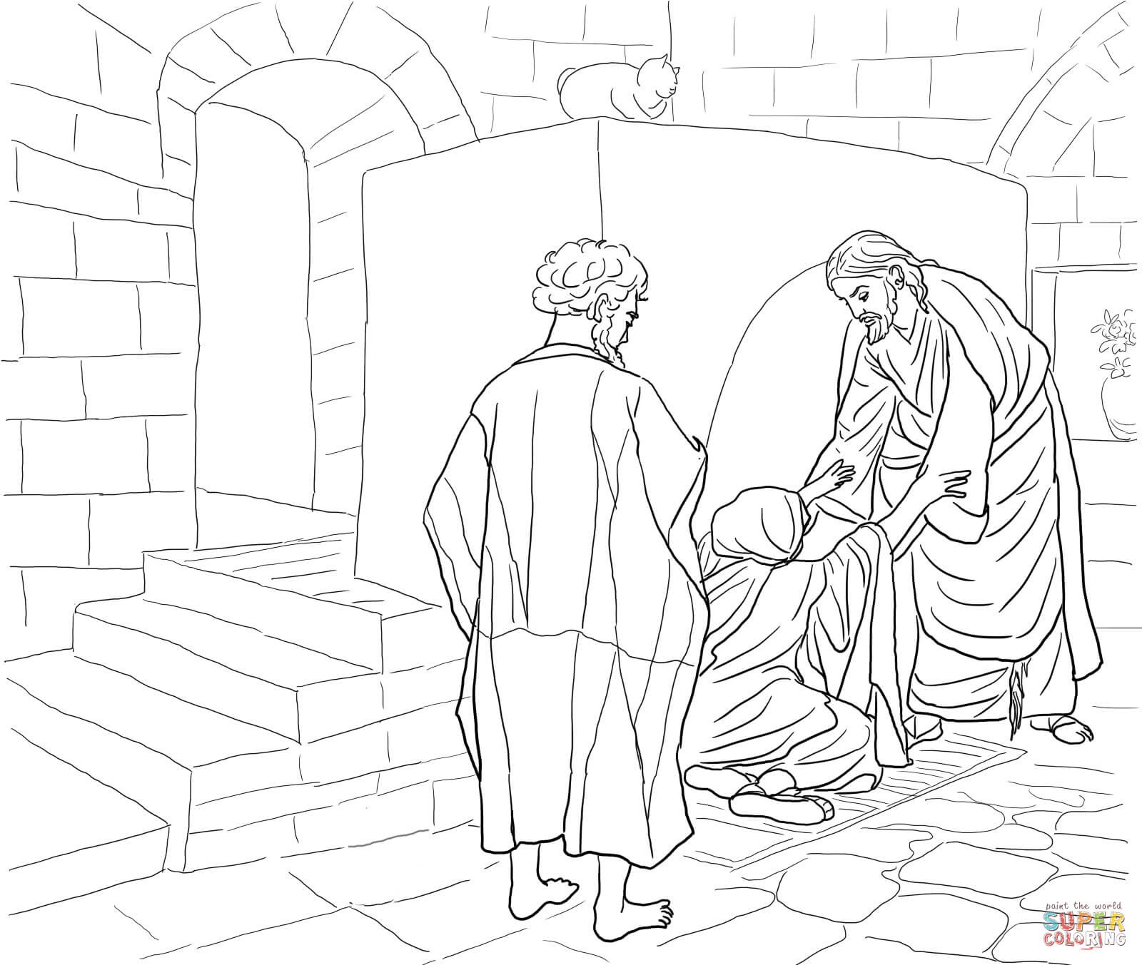 1600x1353 Jesus Healing Peter's Mother In Law Coloring Page Free Printable