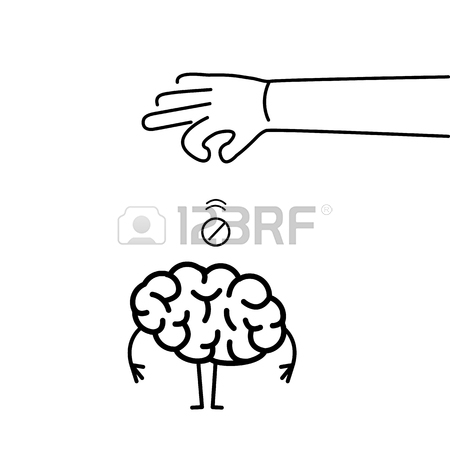 450x450 Hand Putting Pill Inside Brain. Vector Concept Illustration