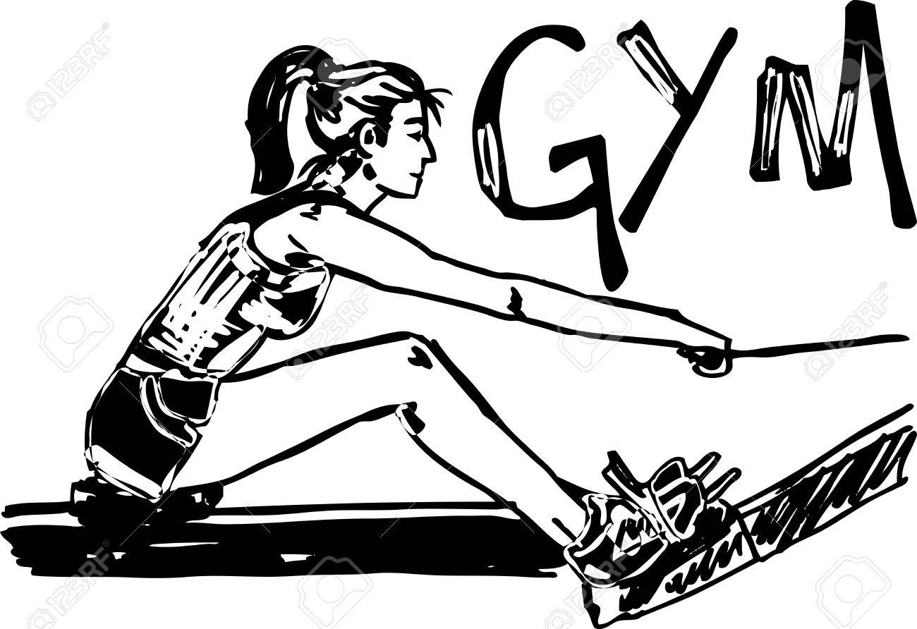 1300x892 Sketch Of Woman Exercising On Machines At Gym