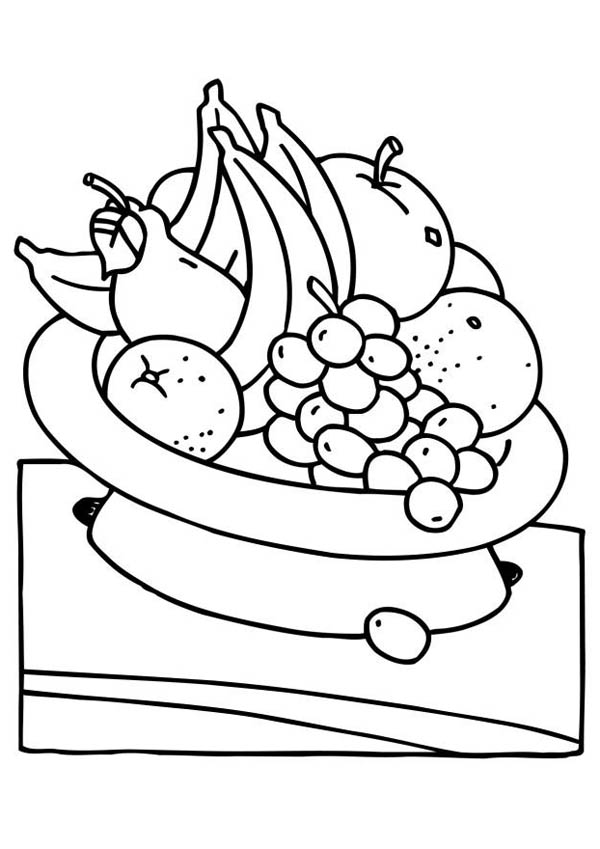 600x849 Eat Fruit For Your Health Coloring Page