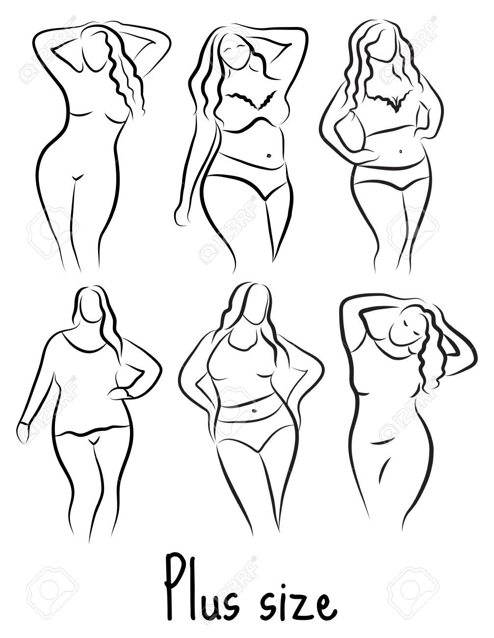 1007x1300 Plus Size Model Woman Sketch. Hand Drawing Style. Curvy Body