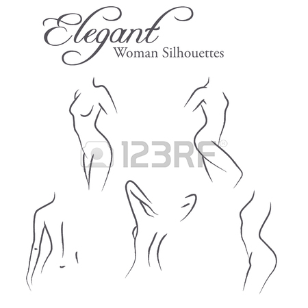 450x450 Set Of Elegant Woman Silhouettes In A Linear Sketch Style