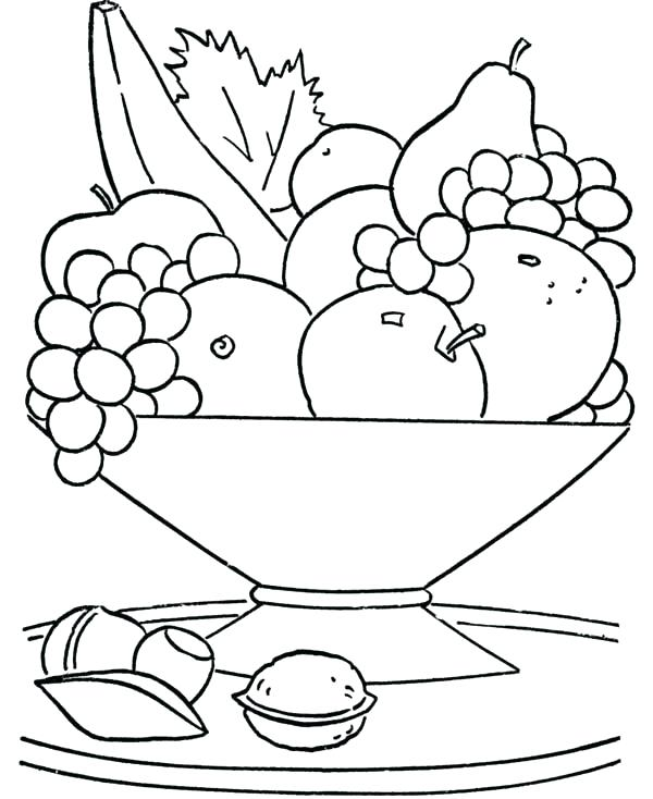 600x734 Fresh Healthy Food Coloring Pages Online Drawing Eating Heart