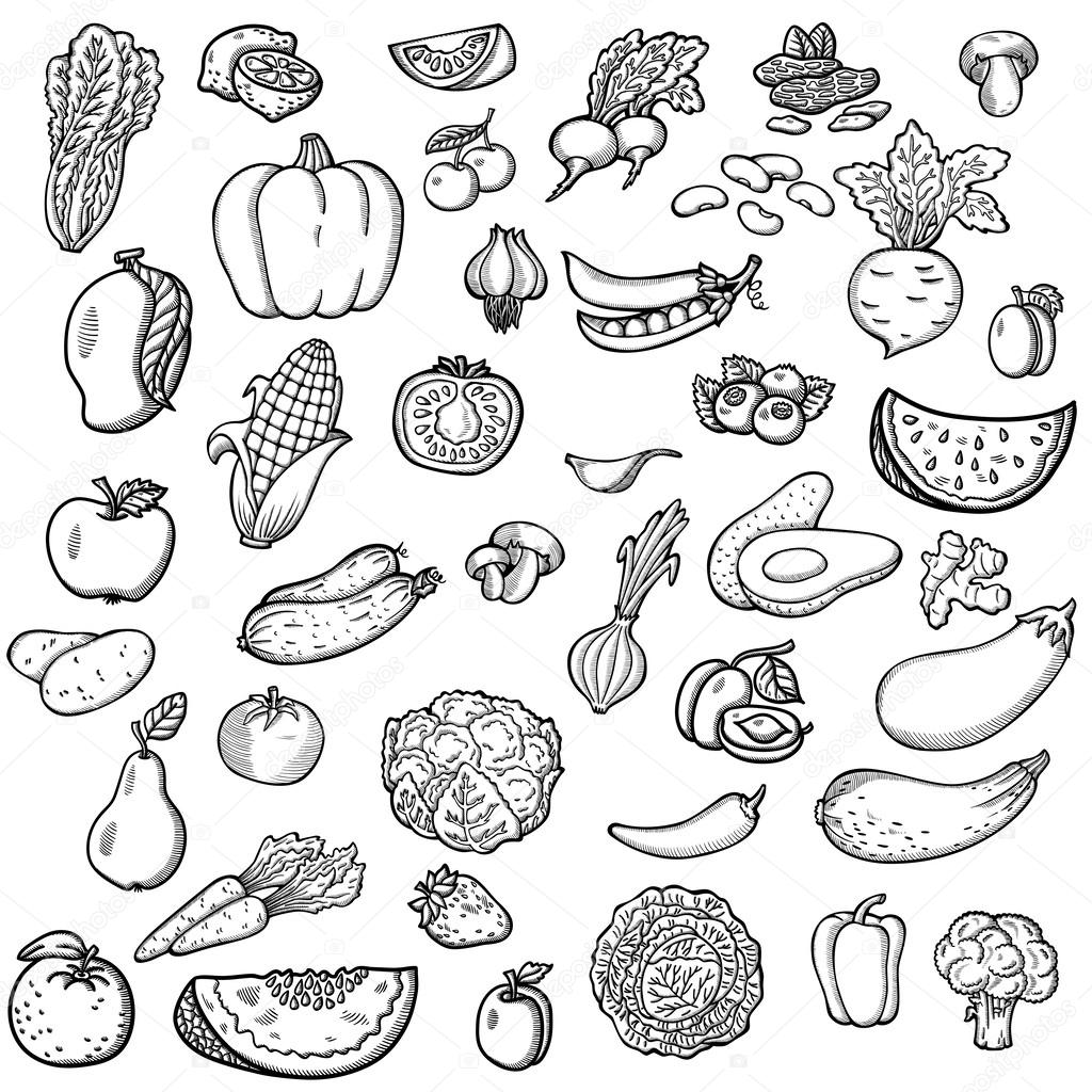 1024x1024 Set Of Vegetables And Fruits. For Menu. Hand Drawing, Retro