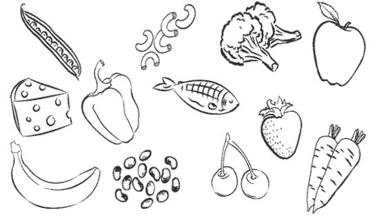 healthy food coloring pages | Healthy Food Drawing at GetDrawings.com | Free for ...