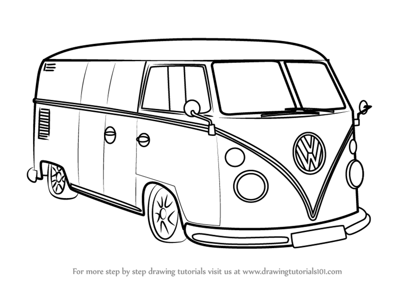 800x567 Learn How To Draw Volkswagen Van (Other) Step By Step Drawing