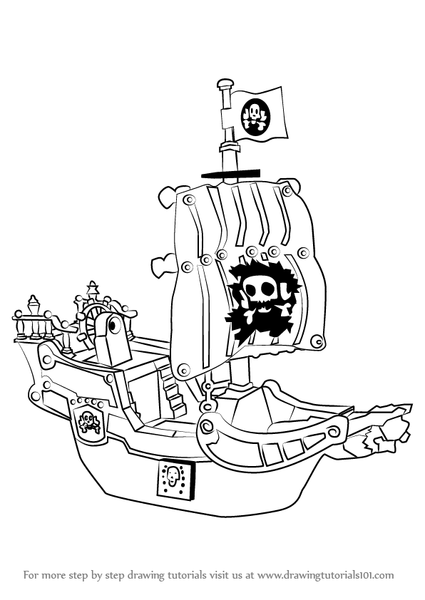 596x842 Learn How To Draw A Pirate Ship (Other) Step By Step Drawing