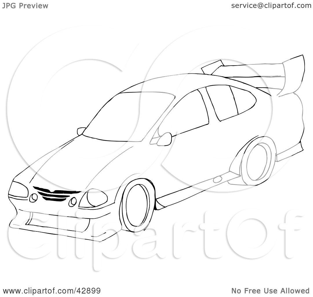 1080x1024 Clipart Illustration Of A Black And White Sports Car Sketch By