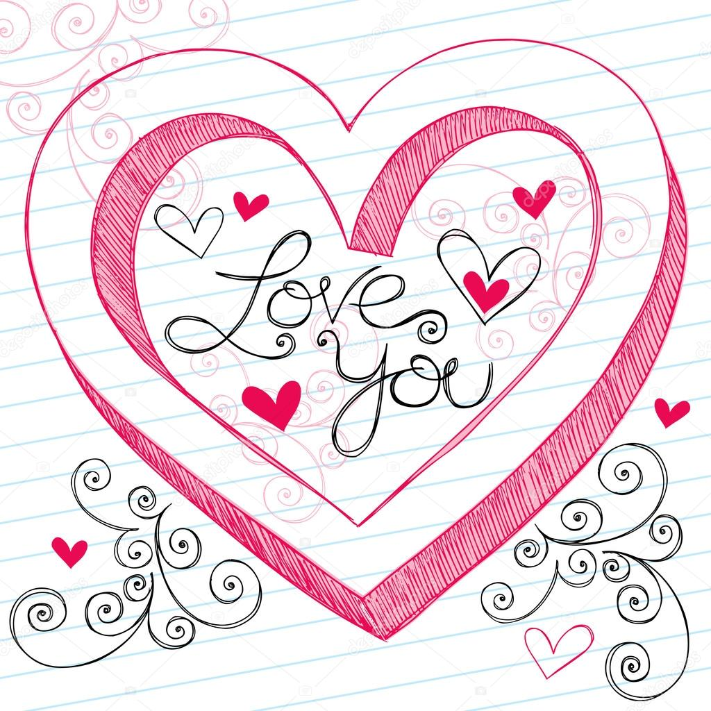 1024x1024 I Love You 3d Heart Sketchy Doodles Vector Design Elements Stock