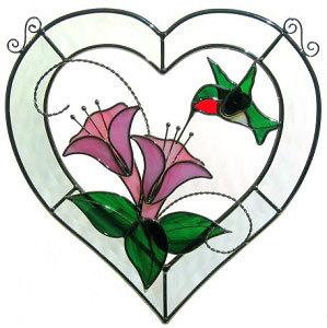 299x300 Stained Glass 3d Hummingbird Bevel Heart Sun Catcherwall