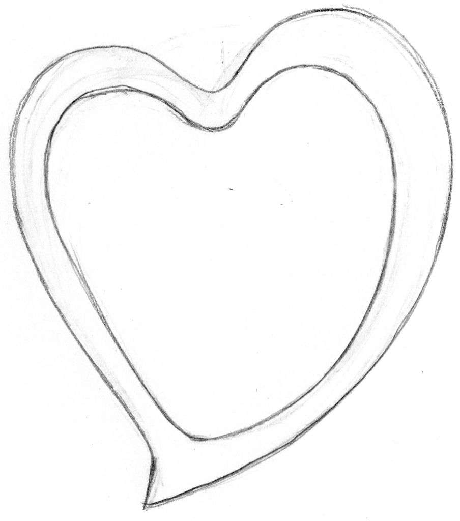 904x1024 3d Heart Drawing Step By Step 3d Heart Sketch Step By Step 3d