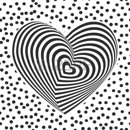 450x450 Black Heart On White Background. Optical Illusion Of 3d Three