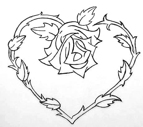 461x410 Heart And Rose Flowers To Color Tattoo, Tatting