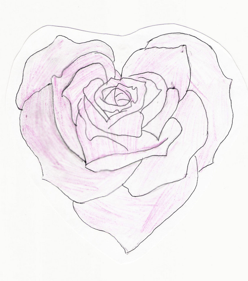 841x950 Heart Shaped Rose Drawing Heart Shaped Rose By Feeohnah Tattoo