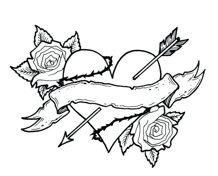 736x593 Rose Coloring Pictures Coloring Pages Roses Hearts Heart