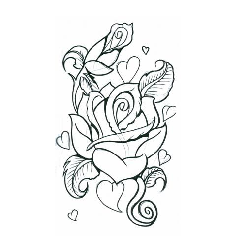 500x500 Rose Heart Tattoo Designs