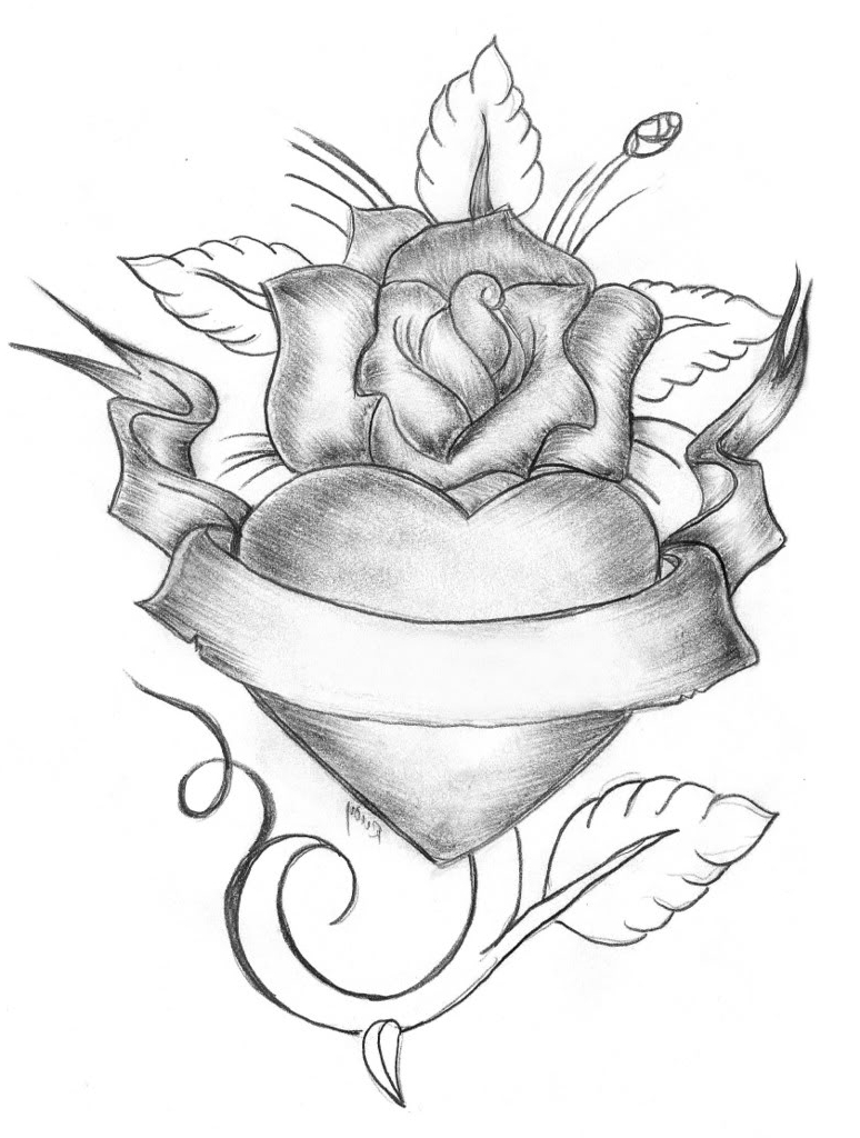 774x1024 Drawing Pic Of Heart With Flower Heart And Rose Drawings In Pencil
