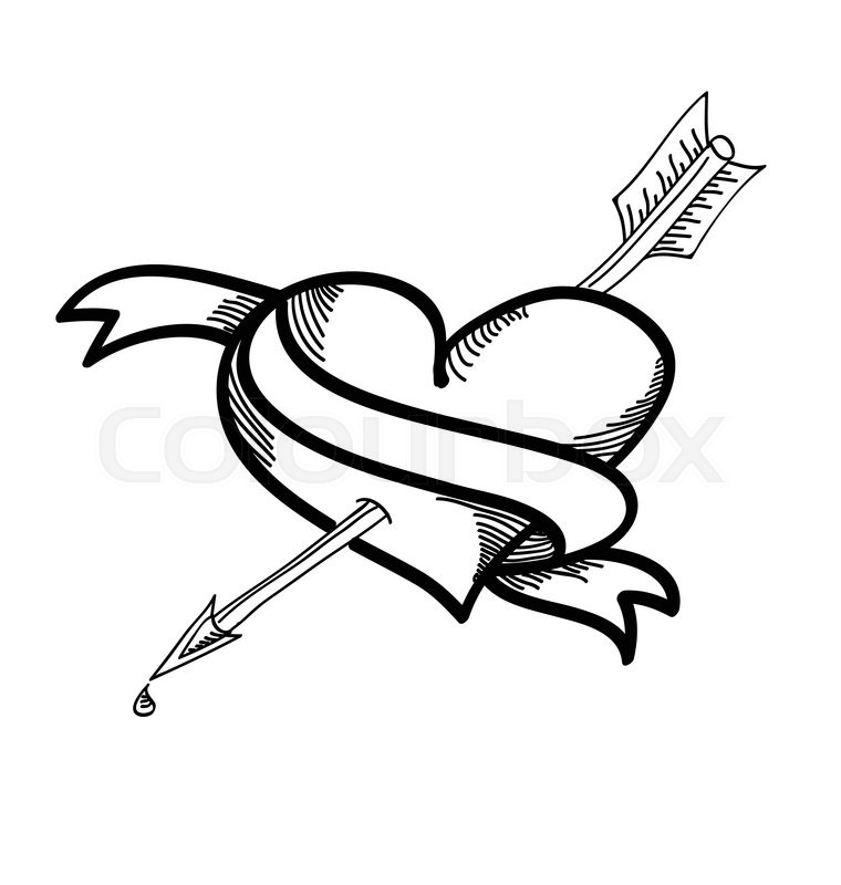 760x800 Hand Drawn Heart And Arrow Vector Design Stock Vector Colourbox
