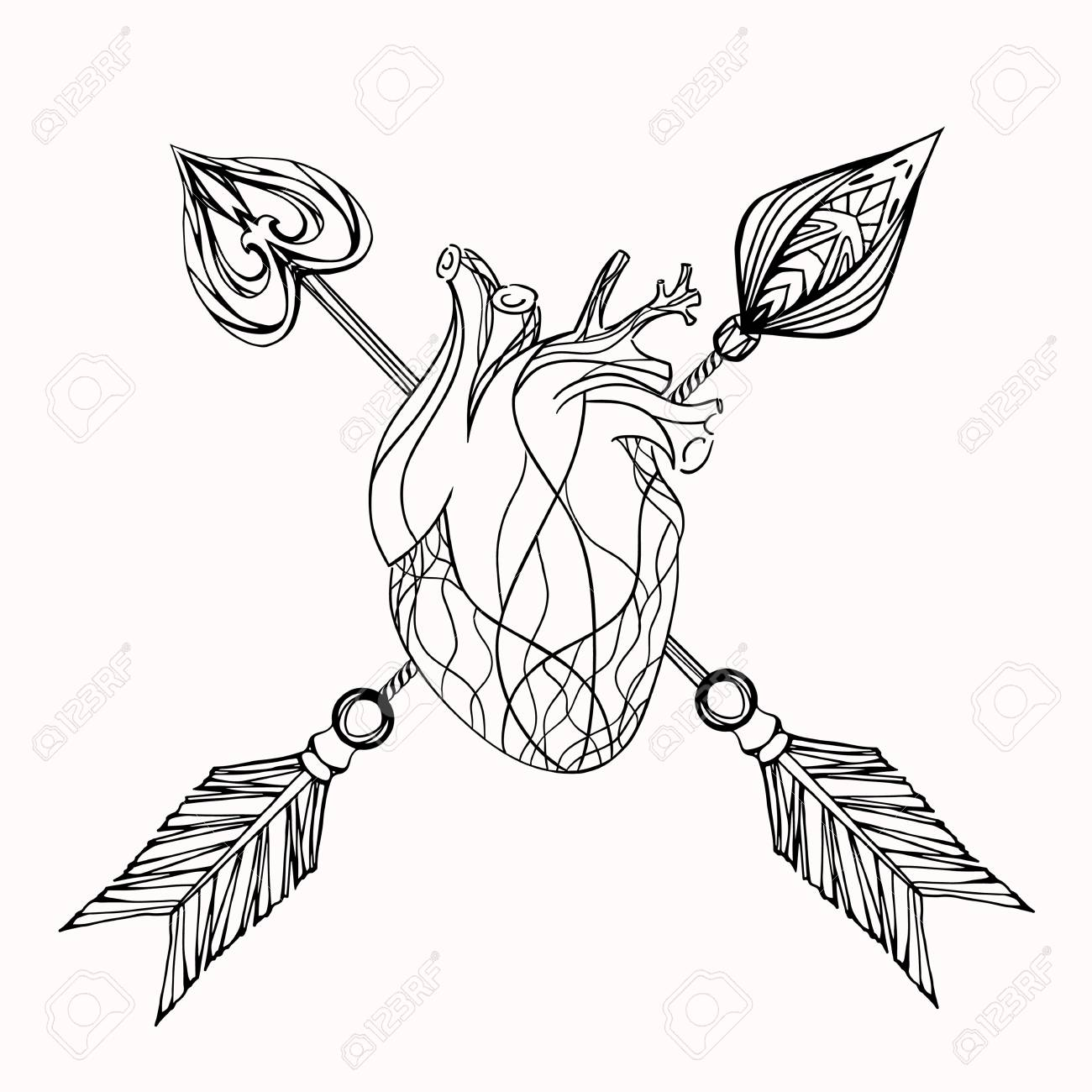 1300x1300 Illustration Of Heart And Arrow. Vector Element For Tattoo Sketch