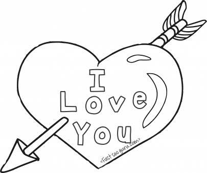 405x338 Printable Valentines Day Hearts And Arrow Coloring Pages