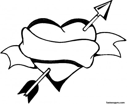 412x338 Valentines Day Heart And Arrow Coloring Page