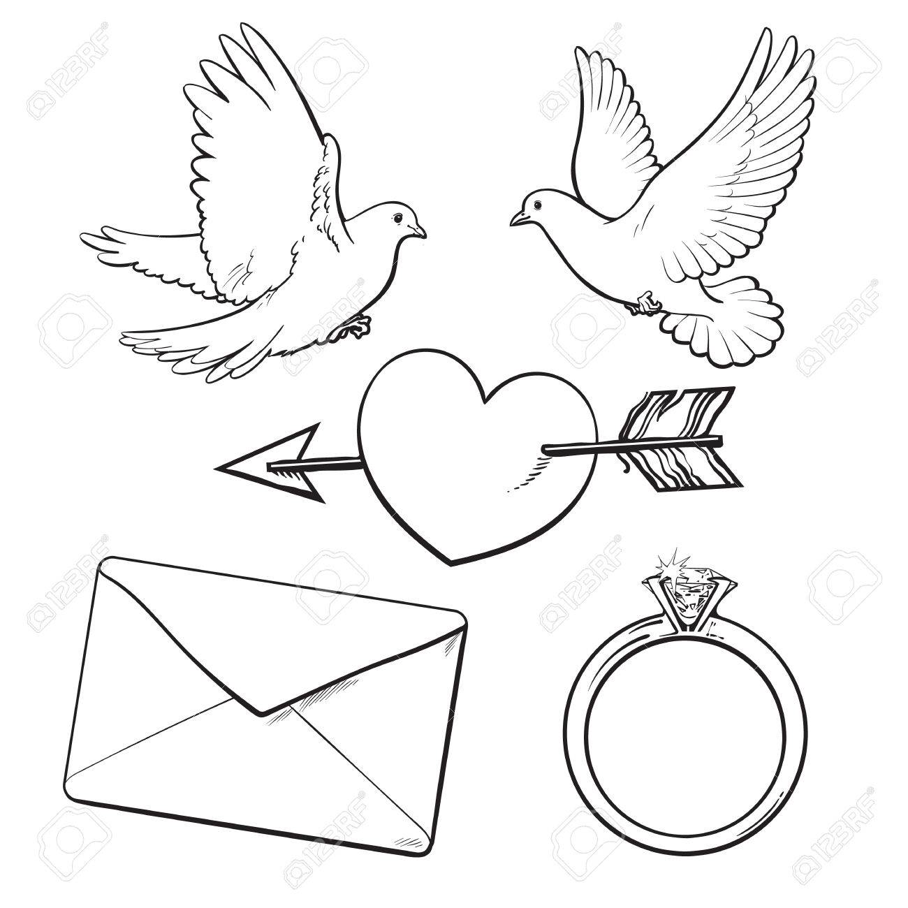 1300x1300 Wedding, Engagement Icon Set With Doves, Arrow Pierced Heart