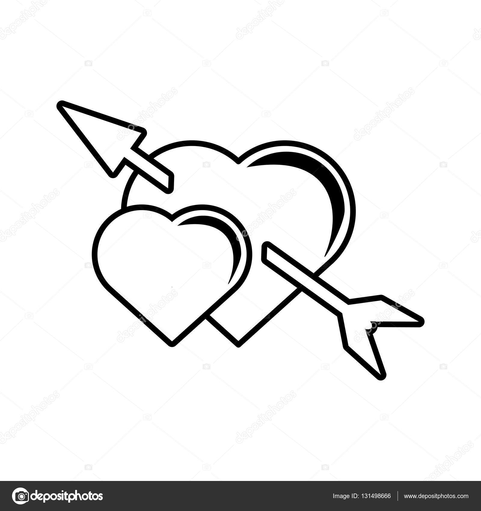 1600x1700 Pictogram Two Heart Arrow Love Valentines Symbol Design Stock
