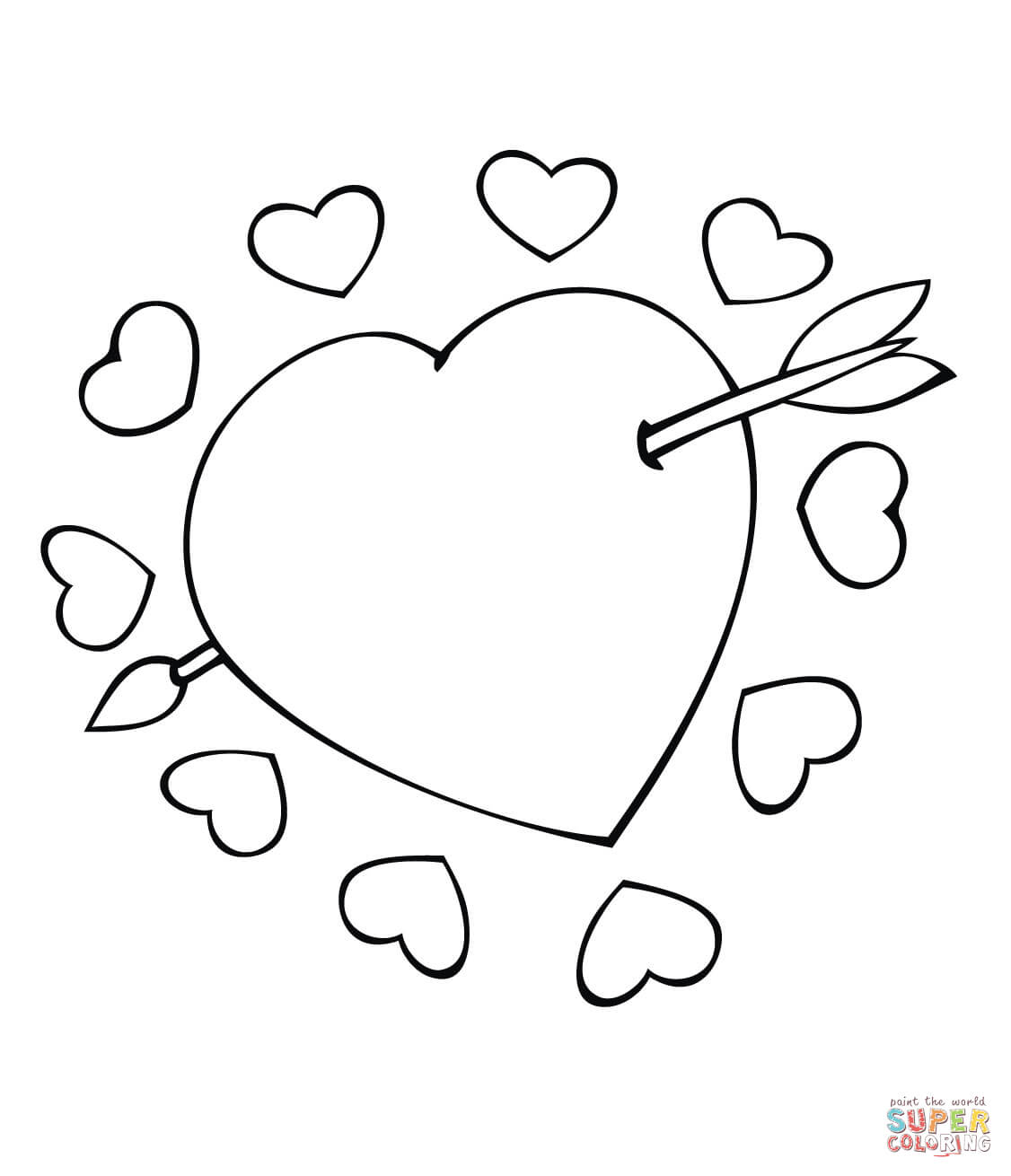 1126x1310 Cupid Arrow Through The Heart Coloring Page Free Printable