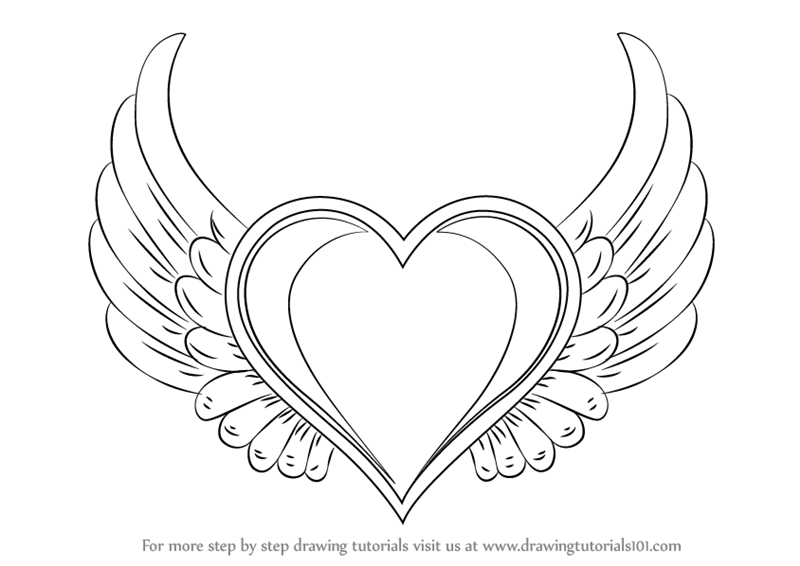 800x566 Learn How To Draw Heart With Wings (Love) Step By Step Drawing
