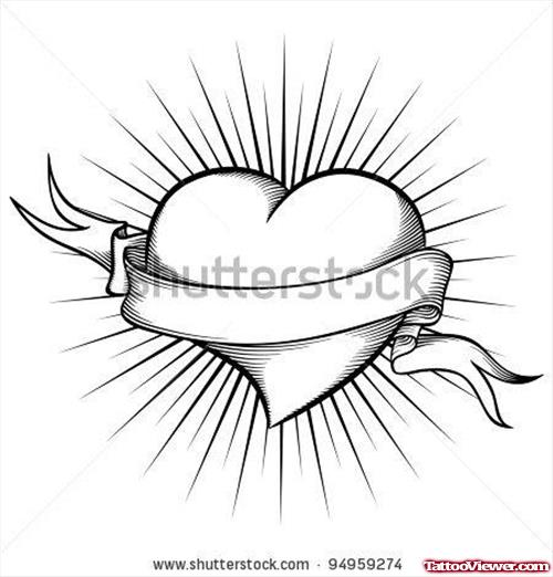 500x522 Cute Banner And Heart Tattoo Design Tattoo