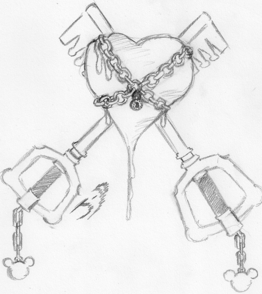 Heart And Key Drawing