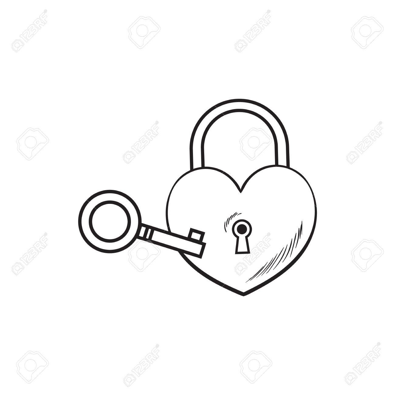 1300x1300 Heart Shaped Padlock And Key For Love Lock Unity Ceremony, Sketch