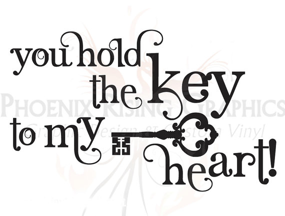 570x433 Key To My Heart Quote Vinyl Decal 11x6.75