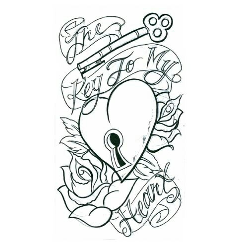 500x500 The Key To My Heart Tattoo Art Designs Drawing Ideas