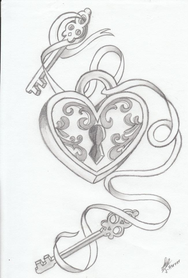651x960 Heart Lock Drawing