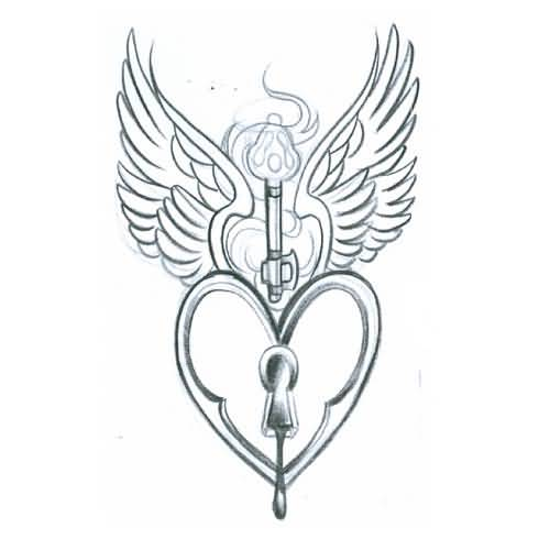 500x500 Drawing Best Heart Key Tattoo Design