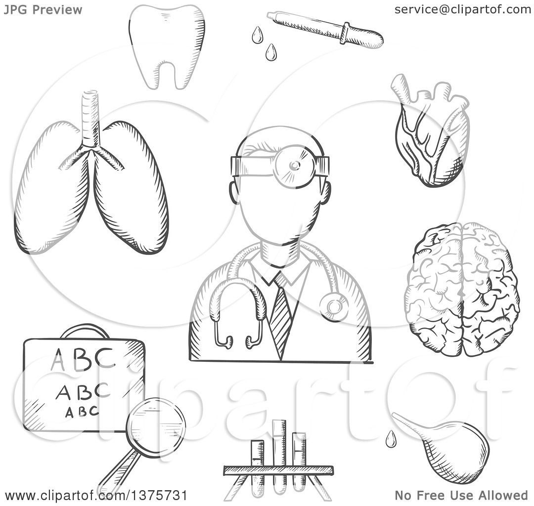 1080x1024 Clipart Of A Grayscale Sketched Doctor Encircled By An Eye Chart