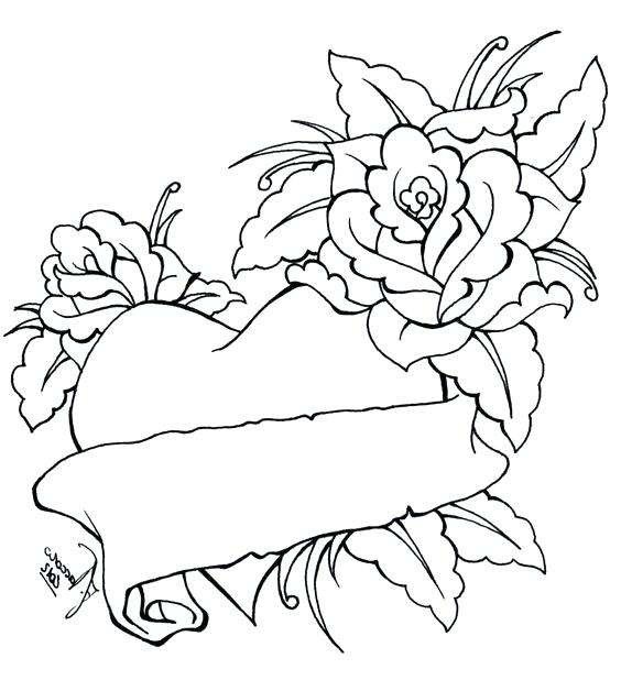 564x618 Epic Heart And Rose Coloring Pages Image Hearts Roses Draw A