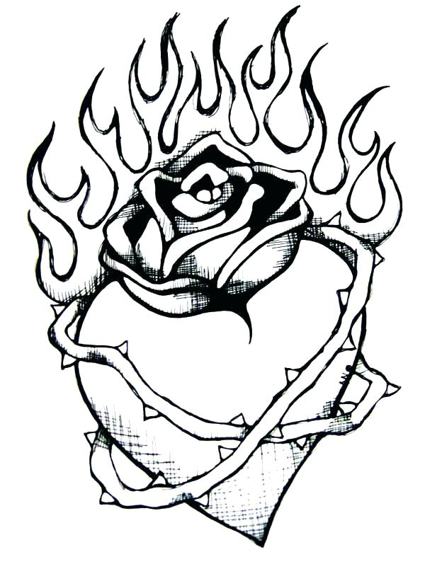 600x797 Heart And Roses Coloring Pages Rose Books Also Hearts Compass
