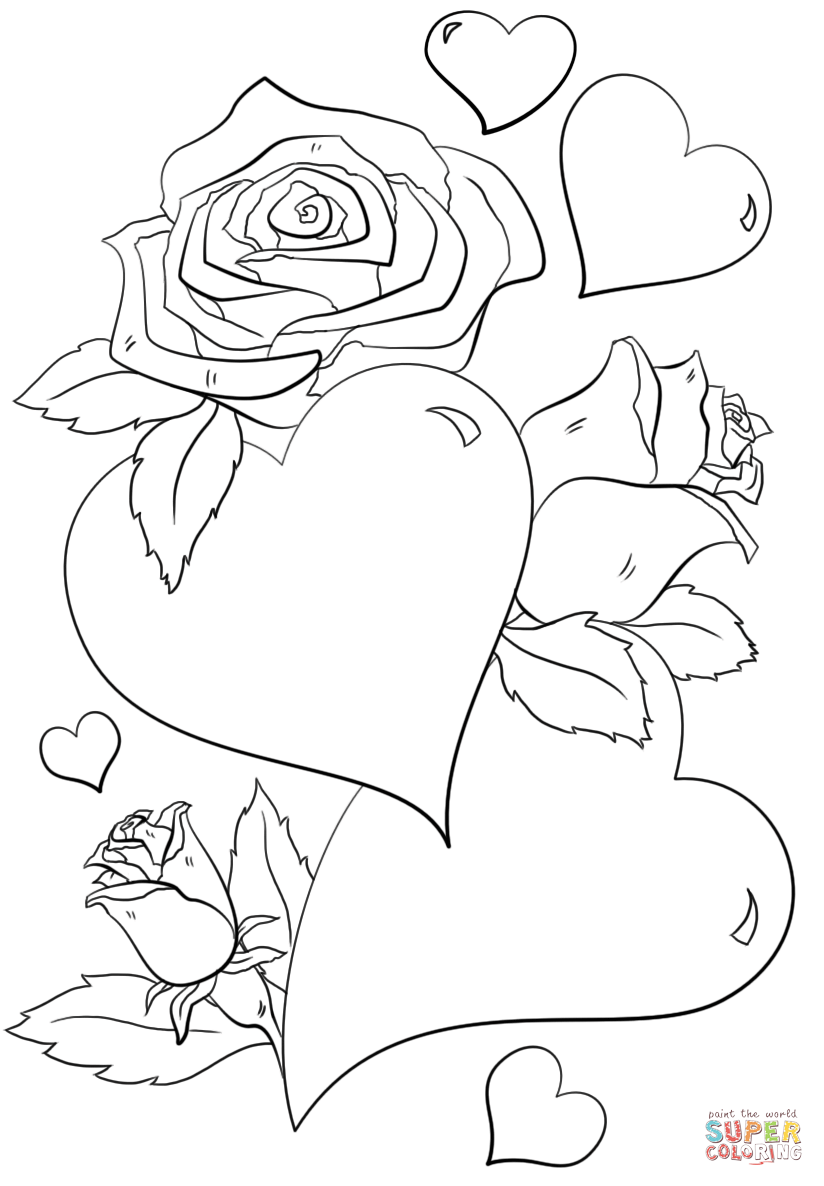 824x1186 Hearts And Roses Coloring Page Free Printable Pages