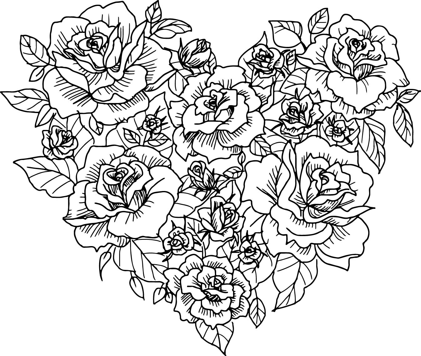 Heart And Roses Drawing