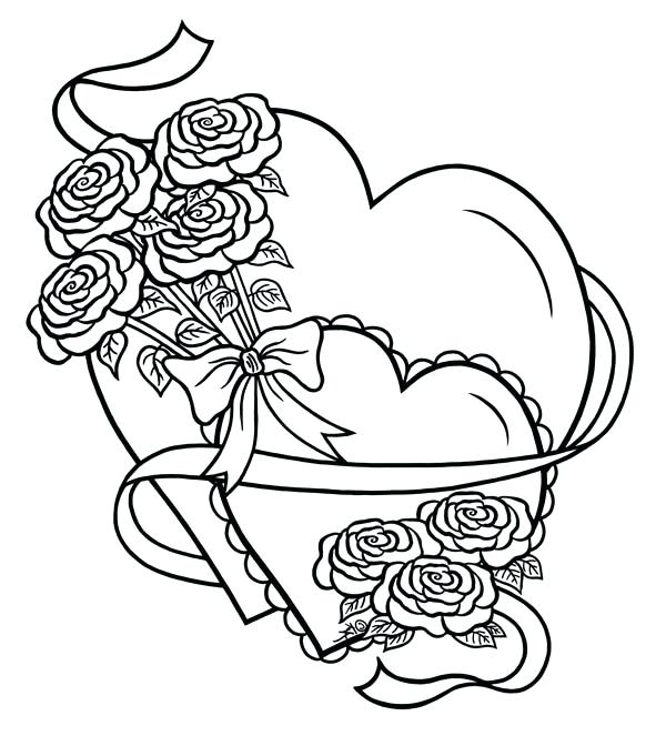 600x663 Heart And Roses Coloring Pages Hearts Roses Hearts And Roses Tied