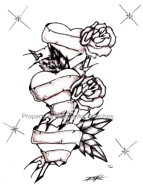 464x600 Roses Drawings With Hearts Rose With Hearts Drawing Ideas