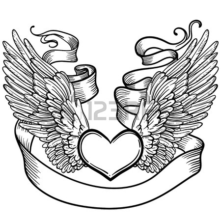 450x450 Line Art Illustration Of Angel Wings, Heart, Tape. Vintage Print