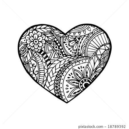 450x451 Vector Of Heart In Zentangle Style